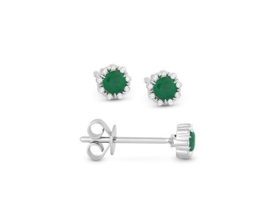 Cropped product listing emerald diamond stud earrings