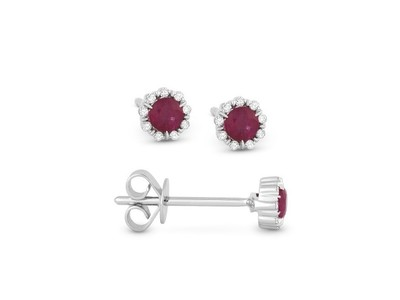 Cropped product listing ruby diamond stud earrings
