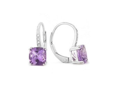 Cropped product listing amethyst diamond dangle earrings