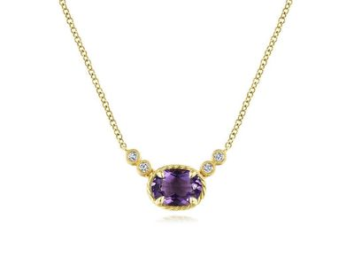 Cropped product listing oval amethyst necklace with diamond accents