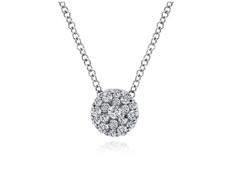 Cropped product page diamond cluster pendant necklace