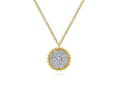 Cropped product listing diamond pave pendant necklace with bujukan bead frame