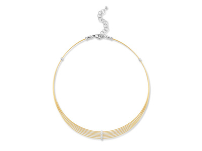 Cropped product listing yellow cable 6 row choker necklace with diamonds
