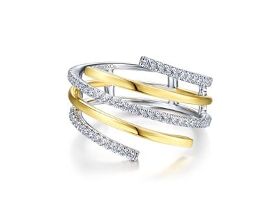 Cropped product listing plain and diamond row wrap ring