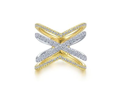 Cropped product listing open diamond criss cross ring