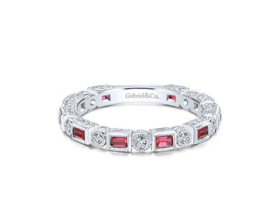 Cropped product listing ruby baguette and diamond round eternity ring