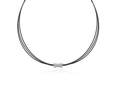 Cropped product listing black cable eclipse necklace with diamonds