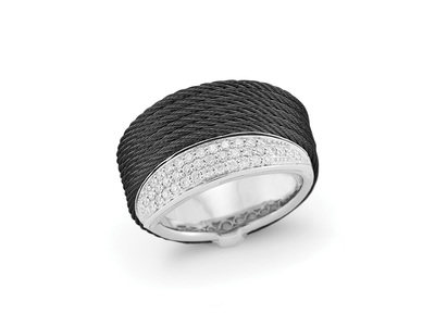 Cropped product listing black cable peekaboo ring with diamonds