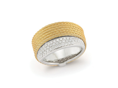 Cropped product listing yellow cable peekaboo ring with diamonds