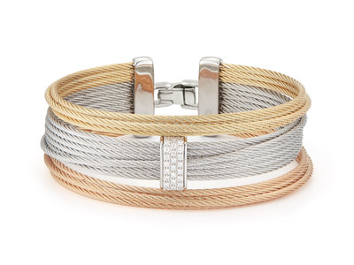 Cropped product listing three row simple stack bracelet with diamonds