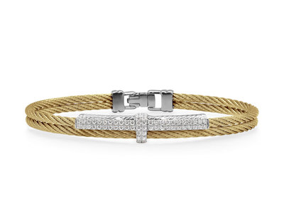 Cropped product listing yellow cable opulence bracelet with diamonds