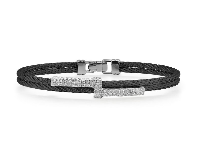 Cropped product page black cable opulence bracelet with diamonds