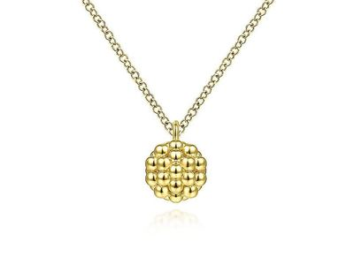 Cropped product listing yellow gold round bujukan bead pendant necklace