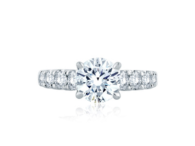 Cropped product listing solitaire signature shank engagement ring