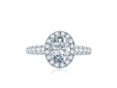 Cropped product listing oval halo signature shank engagement ring