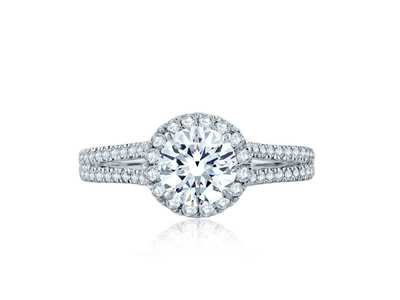 Cropped product listing split shank round halo gallery detail engagement ring