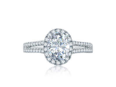 Cropped product listing split shank oval halo gallery detail engagement ring