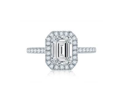 Cropped product listing emerald cut halo engagement ring