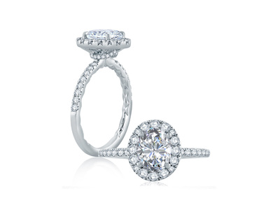 Cropped product listing oval halo engagement ring with belted gallery detail