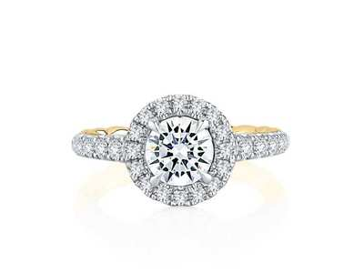 Cropped product listing noble halo round diamond engagement ring