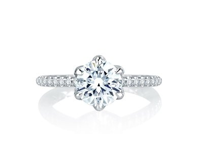 Cropped product listing royal six prong round diamond quilted engagement ring