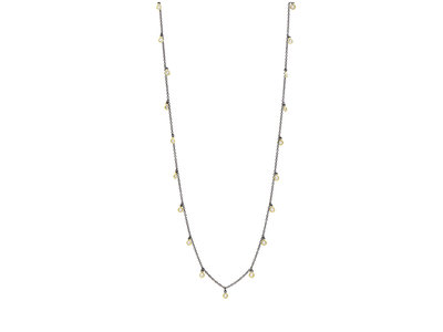 Cropped product listing bezel droplet strand necklace