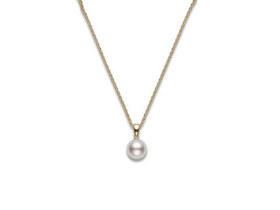 Cropped product listing pearl pendant in yellow gold