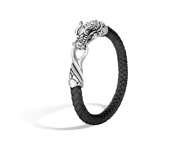 Cropped product listing sterling silver black leather naga bracelet