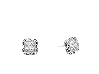 Cropped product listing classic chain stud earrings with diamonds