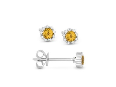 Cropped product listing citrine diamond stud earrings