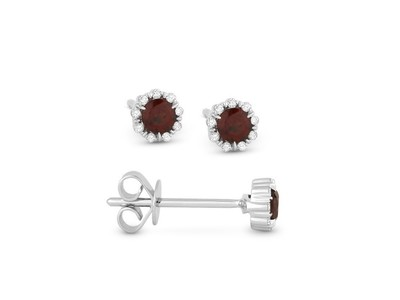 Cropped product listing garnet diamond stud earrings
