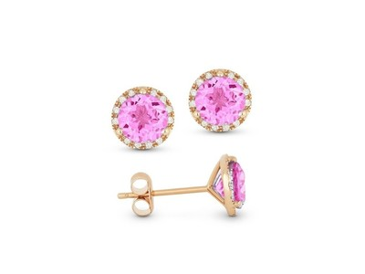Cropped product listing created pink sapphire diamond earrings