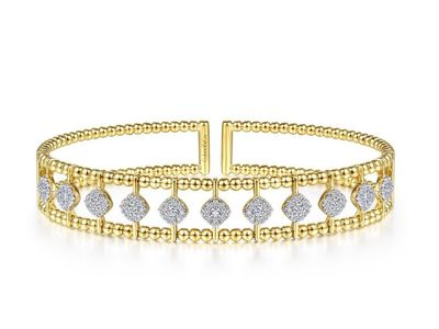 Cropped product listing bujukan bead cuff bracelet with pave diamonds