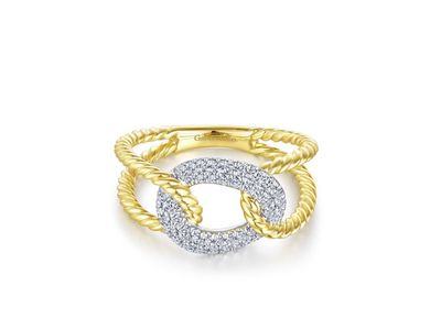 Cropped product listing twisted rope link ring with diamond pave station