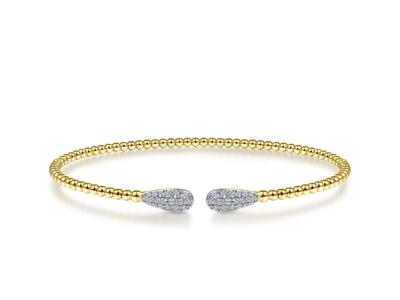 Cropped product listing bujukan bead cuff bracelet with diamond pave teardrops
