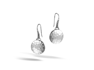 Cropped product listing dot collection drop hammered earring