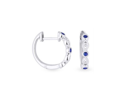 Cropped product listing blue sapphire diamond huggie earrings
