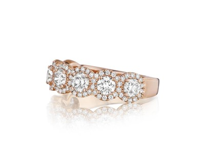 Cropped product listing 7 stone halo diamond band