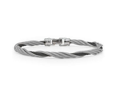 Cropped product listing black grey cable modern twist bracelet
