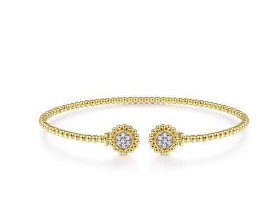 Cropped product listing bujukan split cuff bracelet with diamond pave flower caps