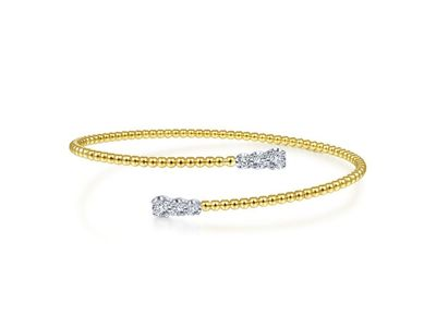 Cropped product listing bujukan bead bypass bangle with graduating diamond caps