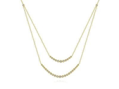 Cropped product listing two strand necklace with millgrain bezel set diamonds