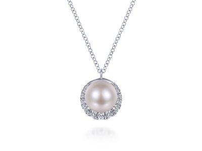Cropped product listing cultured pearl and diamond halo pendant necklace