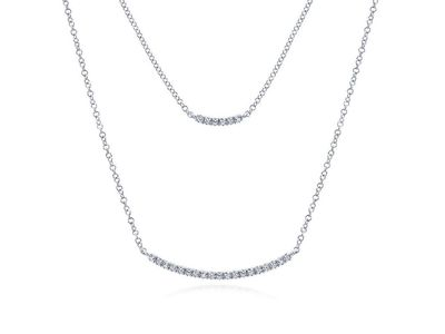 Cropped product listing two strand 14k white gold curved diamond bar necklace
