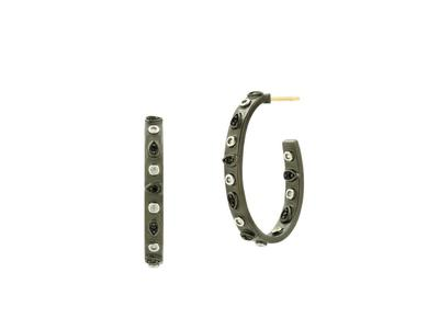 Cropped product listing studded oval hoop earring