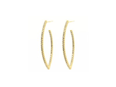 Cropped product listing allover pointed oval pave hoop earrings