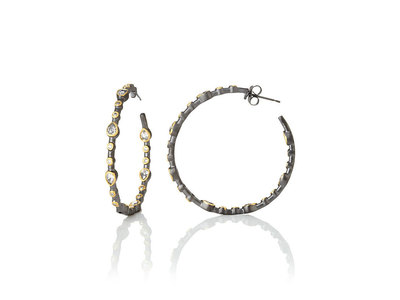Cropped product listing signature teardrop bezel hoop earrings