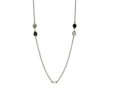 Cropped product listing grey mother of pearl long station necklace