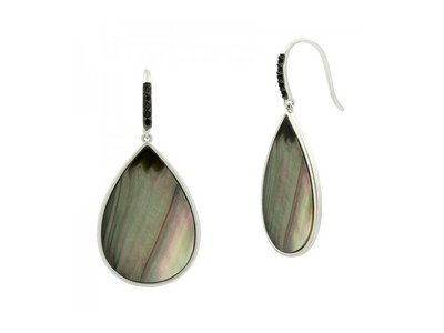 Cropped product listing grey mother of pearl hook earring