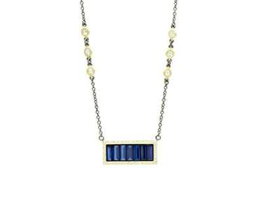 Cropped product listing midnight baguette bar pendant necklace